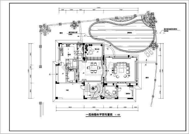 某小区三层框架结构别墅楼给排水消防设计图