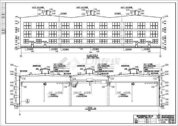 3跨混凝土柱钢梁单层车间建筑结构施工图