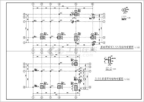 两层小办公楼结构设计施工图纸,图纸内容包括:结构设计说明,基础平面