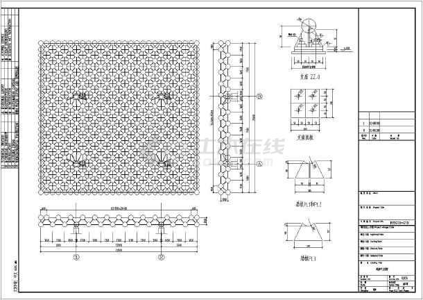 图纸内容如下:网架设计说明,网架基础及混凝土柱布置图,网架平立面图