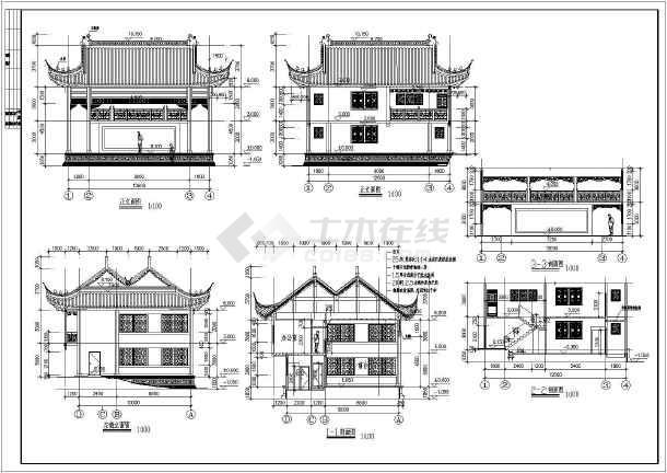 某地传统古建戏台建筑设计施工图纸,包括一层平面图,二层平面图,屋顶