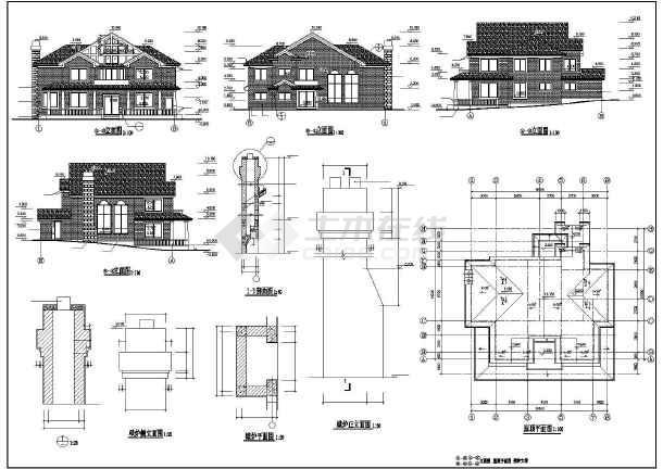 某地多套多层坡屋顶别墅建筑设计方案图图片1