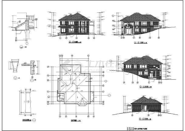 某地多套多层坡屋顶别墅建筑设计方案图