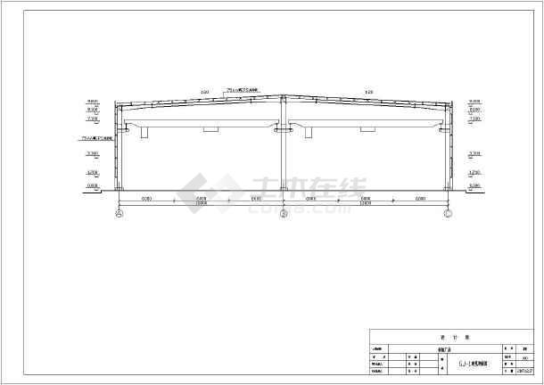 10吨18米两连跨钢结构厂房建筑方案设计图