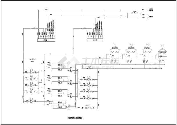 图纸 暖通设计图 中央空调 空调制冷机房设计图 大型制冷机房四台水冷