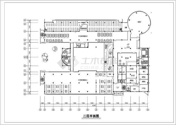 湘潭市某学校四层图书馆建筑设计平面图