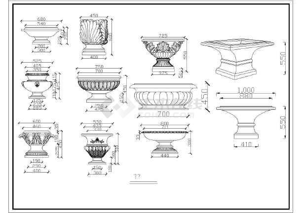 本为欧式设计中通用罗马柱,其中包含:中式别墅提供线条,喷泉大样,门套