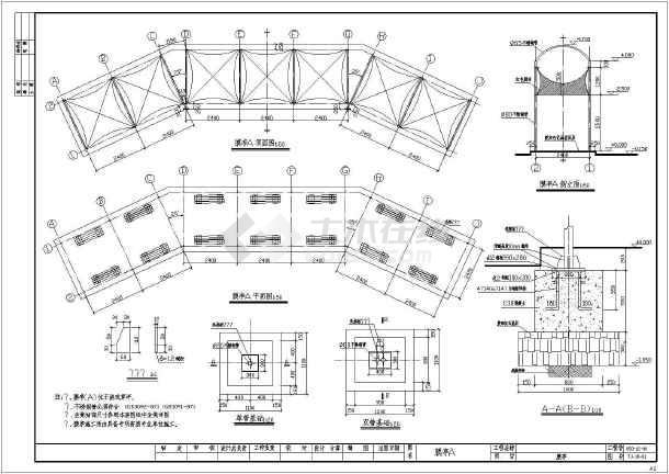 包括膜亭平面图,剖立面图
