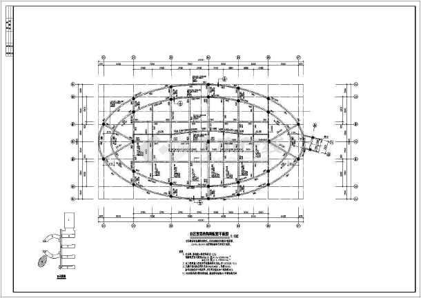 简介:某地区椭圆形小学合班教室结构设计图纸,有柱表,桩位平面图,柱