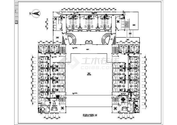四层大型洗浴中心风机盘管加新风系统中央空调和给排水设计图