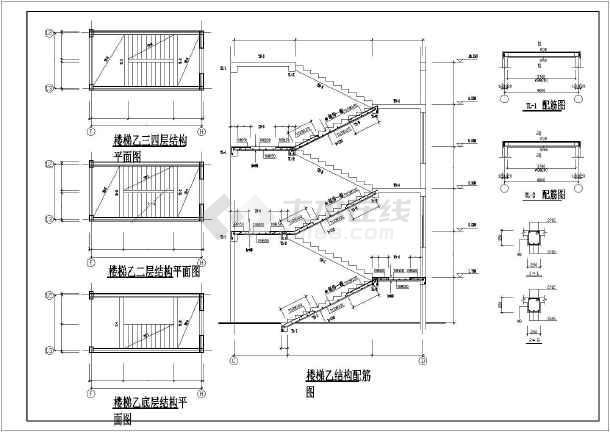 各种类型楼梯大样图,平面图,剖面图