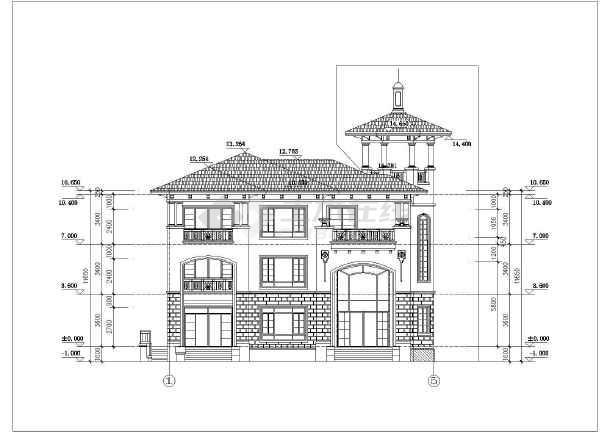 某地三层欧式别墅建筑设计方案图纸