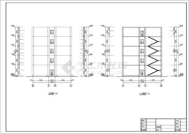 为某地海滨城市3层办公楼建筑设计方案图,图纸内容包括各层建筑平面图