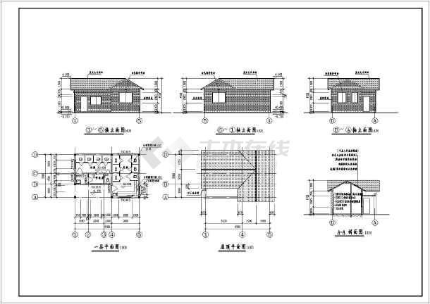 某地区简易仿古砖混结构公共卫生间建筑结构施cad打印1:图纸不对1图片