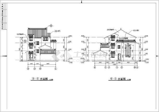 【苏州】二层框架结构徽派仿古别墅结构图