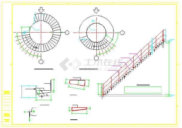 烟囱立面图及底座和破风圈结构设计图