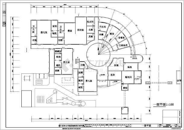 某幼儿园建筑设计规划图总图(平面图)图片2