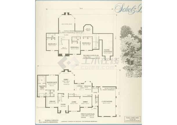 手绘住宅组团规划图