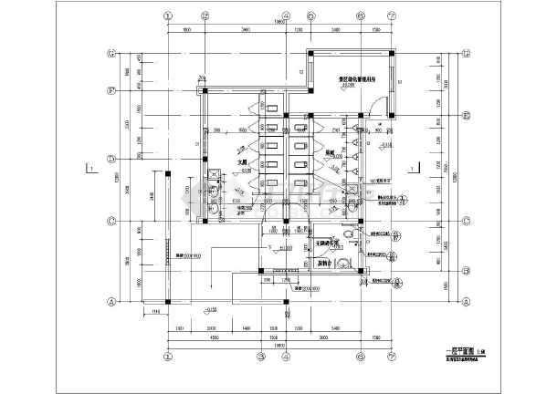 某砖混仿古式公共厕所的施工图纸,厕所长12x宽10.8米x高5.图片