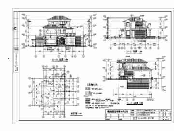 江门三层框架结构欧式独栋别墅建筑结构设计施工图