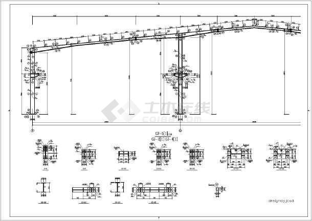 60米跨15000平米钢结构全套施工图纸