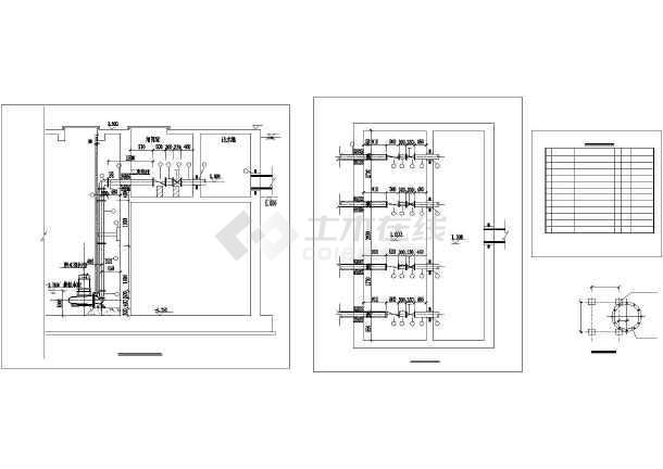 某地下水泵房工艺流程图平面图剖面图_cad图cad来不是淡的,但显淡打出图片