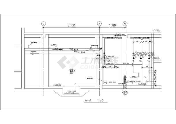 某水泵消防工程房分层平面图剖面图_cad图纸cat图纸图片