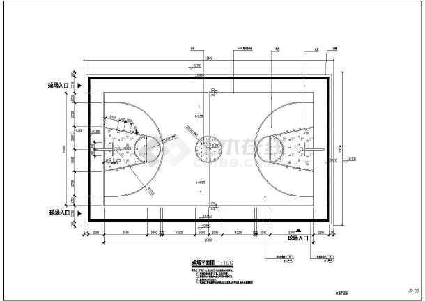 某地区室外标准篮球场建筑设计施工图