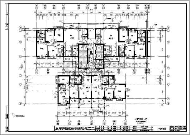 两套32层带跃层住宅楼户型平面方案,两栋楼房基本对称,相同户型设计图片