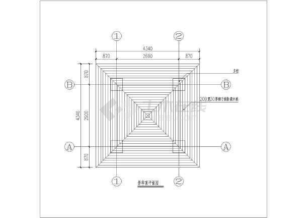 某地混凝土与木混合结构四角方景亭设计图
