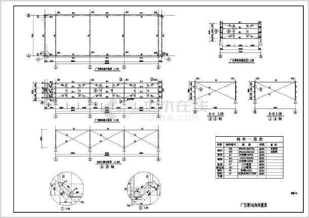 某公司广告牌轻钢结构设计施工图纸