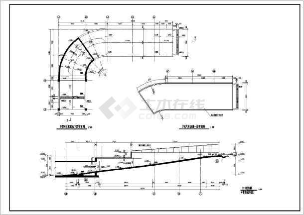 建筑物地下环形车库及直线坡道施工图_cad图天圆v环形地方CAD图片