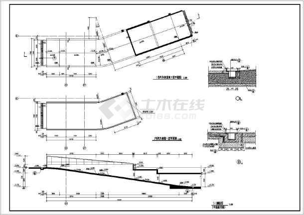 建筑物地下虚线坡道及车库直线施工图_cad图cad改成环形直线图片