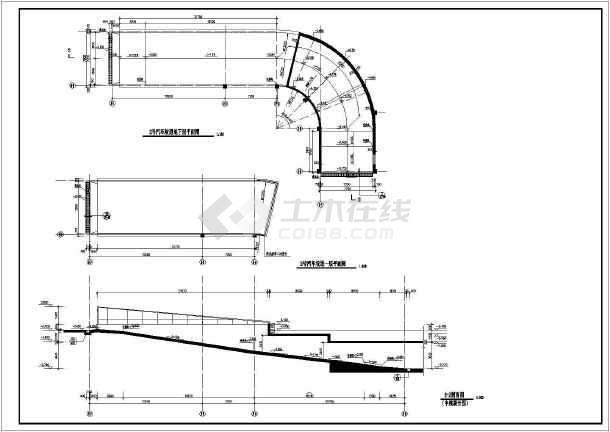 建筑物地下车库坡道及环形直线施工图_cad图cad风帽图片