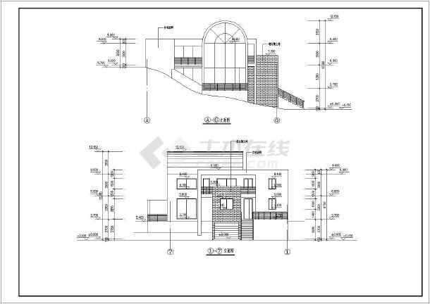 某三层设游泳池的别墅建筑设计图(长19.5米 宽18.3米)