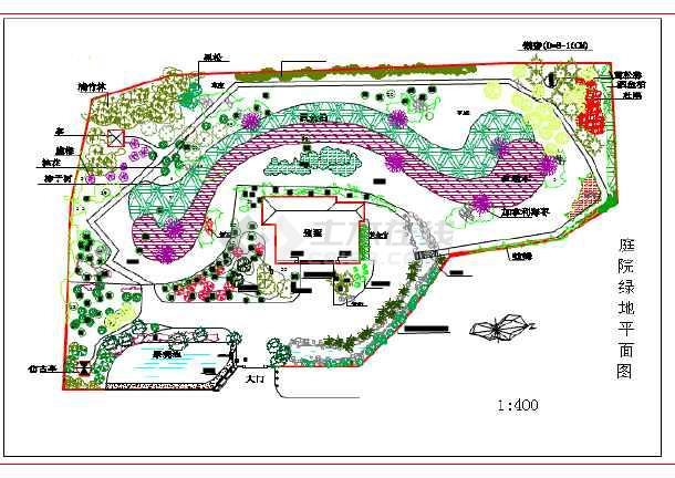 某地大型庭院绿地建筑设计平面详图图片1
