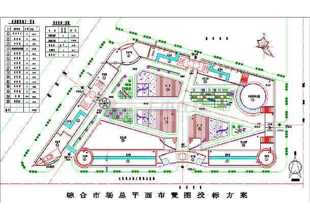 某地区综合市场建筑设计总平面布置图纸图片1