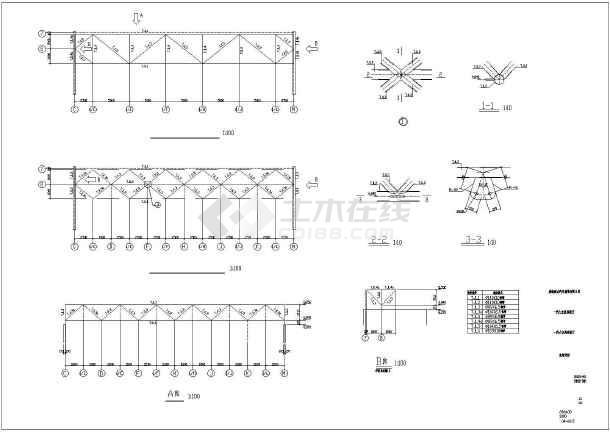 威海某双坡双跨轻型门式钢架汽车展厅结构施工图(局部