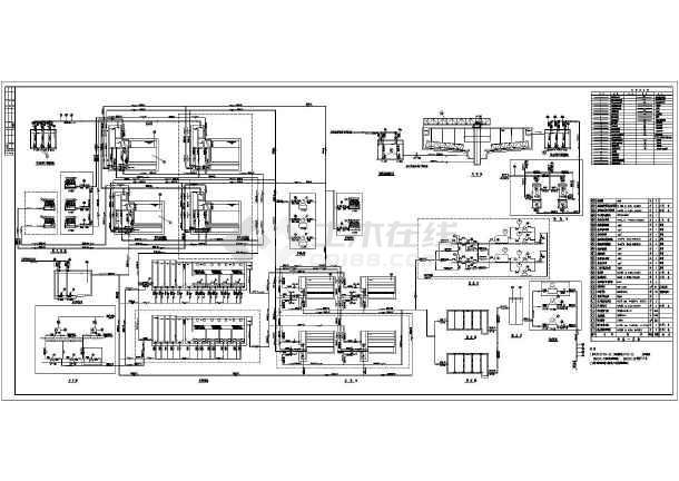 某环保工程污水回用处理设计工艺流程图纸-图1