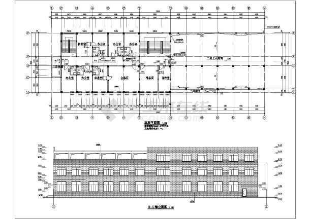 三层综合办公楼建筑设计方案图,采用框架结构,图纸内容包含:各层平面