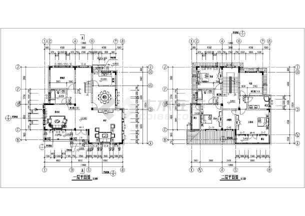 二层别墅建筑施工图图片