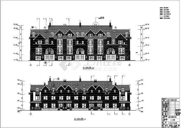 英伦风三层联排别墅建筑施工图纸图纸