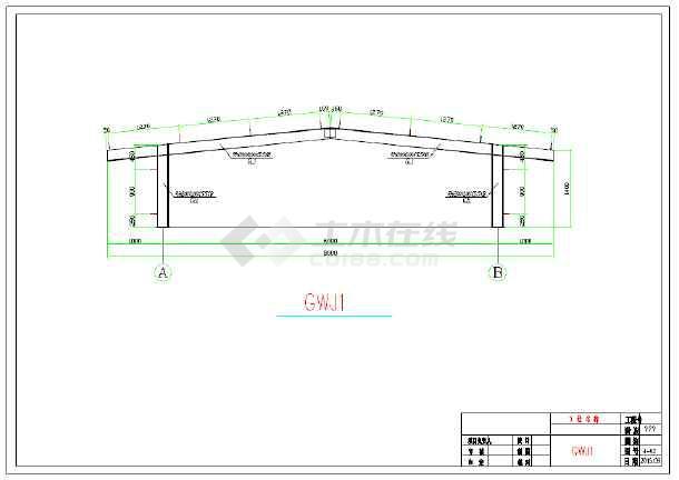 钢结构厂房屋顶气楼施工图(共2张)
