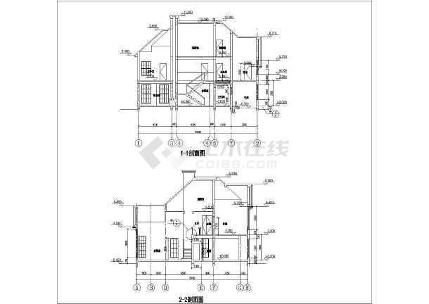 某二层阁楼别墅建筑设计图(长15.24米 宽14.32米)图片