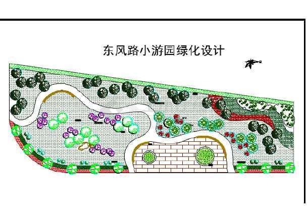 某地区小游园绿化景观设计平面详图