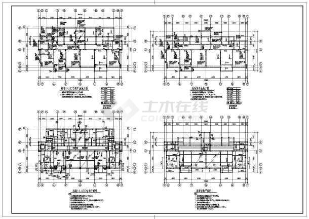 多层异型柱框架结构住宅结构设计施工图,图纸内容包括:基础平面布置图