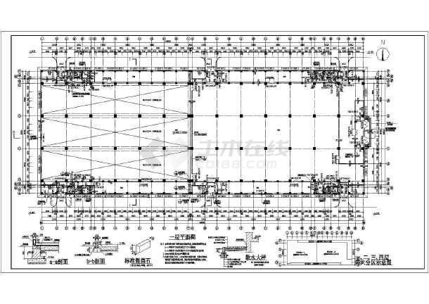 简介:北方某复合结构厂房设计施工图,框架及钢结构屋顶,立面图等,内容