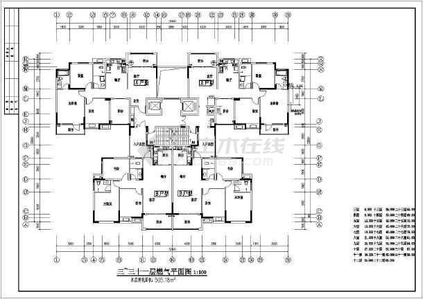 某地三十一层住宅图纸设计施工燃气采矿工程cad图纸图片