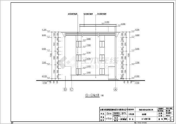 某地区某三层楼宿舍建筑设计施工图