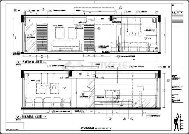 珠海某示范区三室两厅室内装修施工图 图1高清图片